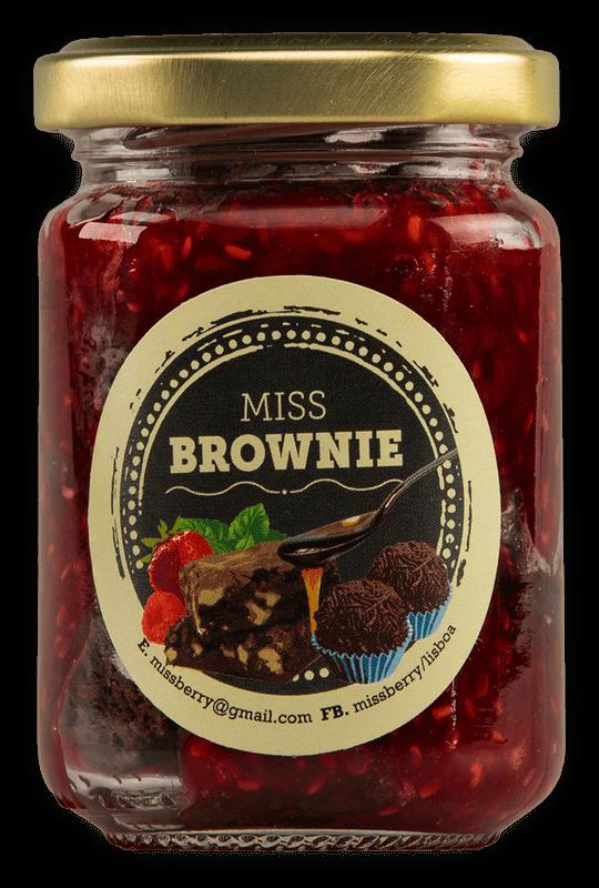 Brownie à colher com doce de framboesa